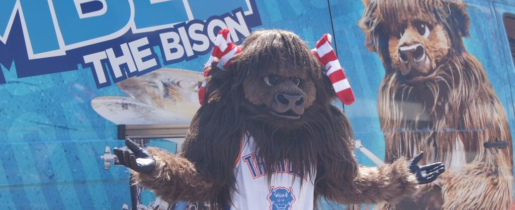 Rumble the Bison, the official mascot of the Oklahoma City Thunder, a National Basketball Association franchise based in Oklahoma City, Oklahoma.