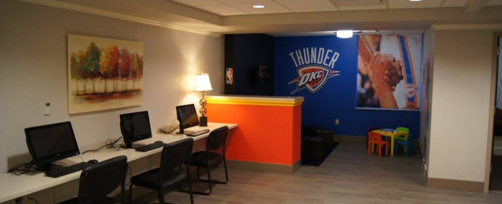 The Ronald McDonald House® at The Children's Hospital located on the 3rd Floor of Garrison Tower, Oklahoma City Thunder playroom pictured.
