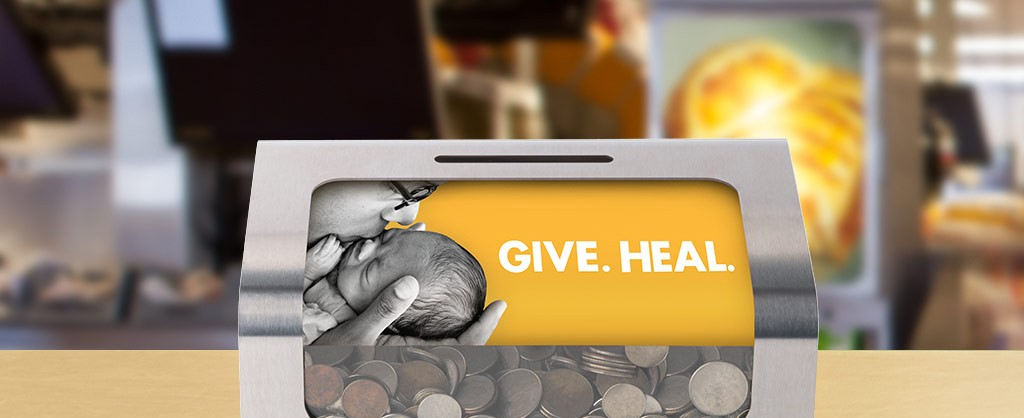 A cash donation box located at every McDonald's restaurant