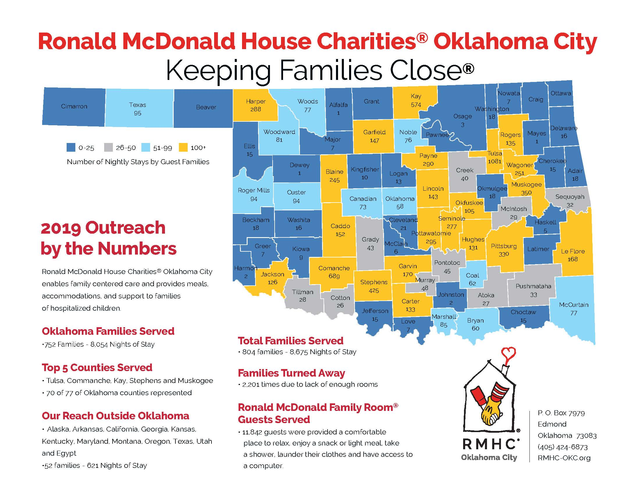 Oklahoma map that shows the number of families RMHC-OKC has helped in each county